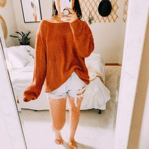 Pumpkin boheme oversized ribbed orange sweater
